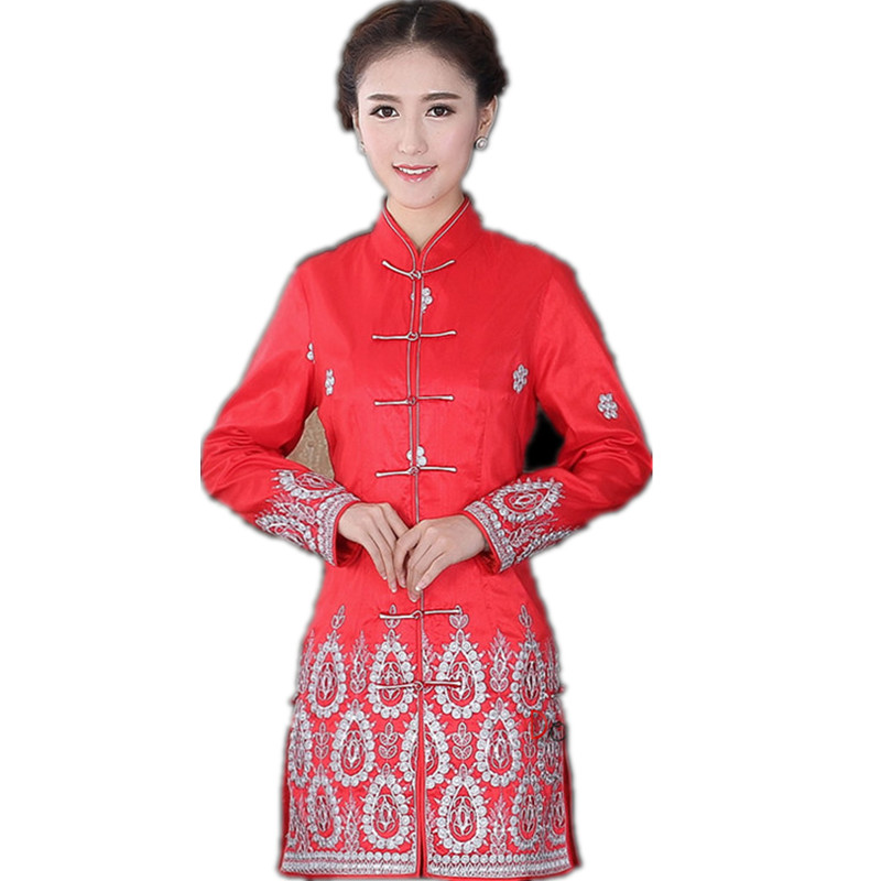Autumn Winter Red Chinese Lady Satin Jacket Mandarin Collar Slim Outwear Button Embroidery Coat Free Shipping Size S To XXXL