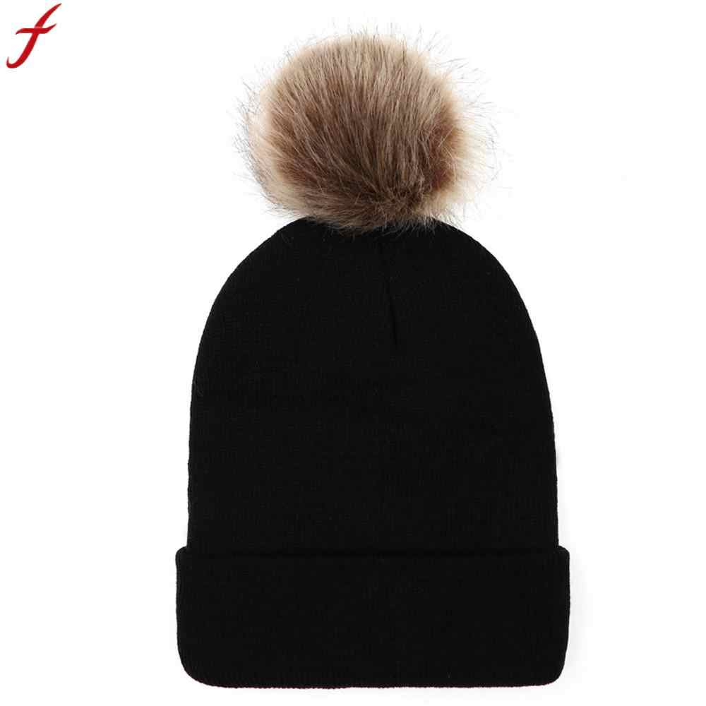 243c835fee8 Fur Pompom Hat Women Winter Caps 2019 Women Keep Warm Winter Fur Ball  Knitted Wool Beanie