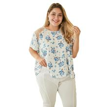 WHZHM Summer Plus Size 3XL 4XL Flower Printed Women Blue Floral Mesh Tees Sexy O-Neck Hollow Out Lace Patchwork Ladies tshirt