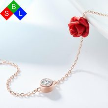 Red Trees Brand Design Fine Jewelry New Arrival Romantic Rose Flower Shape 925 Sterling Silver Charm Bracelets For Women Gift(China)