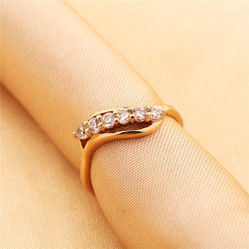 HUCHE Simple Design Ladies Rings Brand New Jewelry Gold Color ...