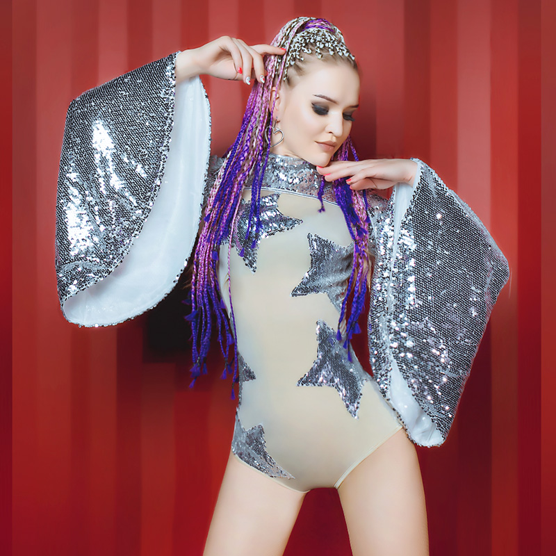 db0f9a4a2 Jazz Dance Nude Jumpsuit Stretch Stones Outfit Celebrate Sequins Bodysuit  Costume DJ DS Female Singer Birthday Dance Dress on Aliexpress.com |  Alibaba Group