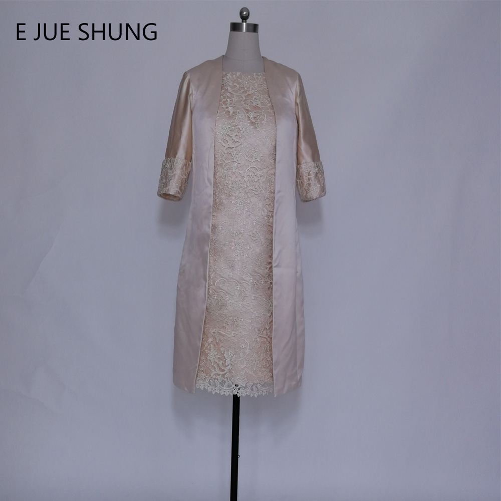E JUE SHUNG Champagne Lace Knee Length Mother of the Bride Dresses With Long Jacket Short Evening Dresses Formal Dresses