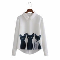 JAYCOSIN Women Loose Chiffon Three Cats Tops Long Sleeve Casual Blouse Shirt casual turn down shirts Jan 15 Drop Ship