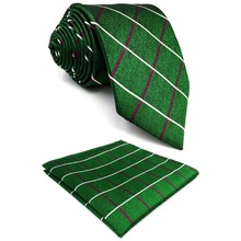 E28 Dark Green Checkes Silk Mens Ties Extra Long Skinny Slim Necktie