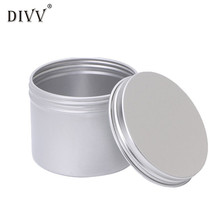 jewelry box Aluminium Empty Cosmetic Pot Jar Tin Container Silver Storage