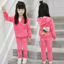 Письмо Вышивка Девушки хлопок Осень комплект одежды розовый красный серый пальто и брюки дети набор девушки одежда 3 4 5 6 7 8 9 10 лет
