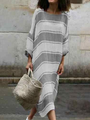 Fashion Women Long Sleeve Dress Casual Boho Kaftan Tunic Gypsy Ethnic Maxi Size 3XL dress Striped Cotton Linen Soft Long Dresses