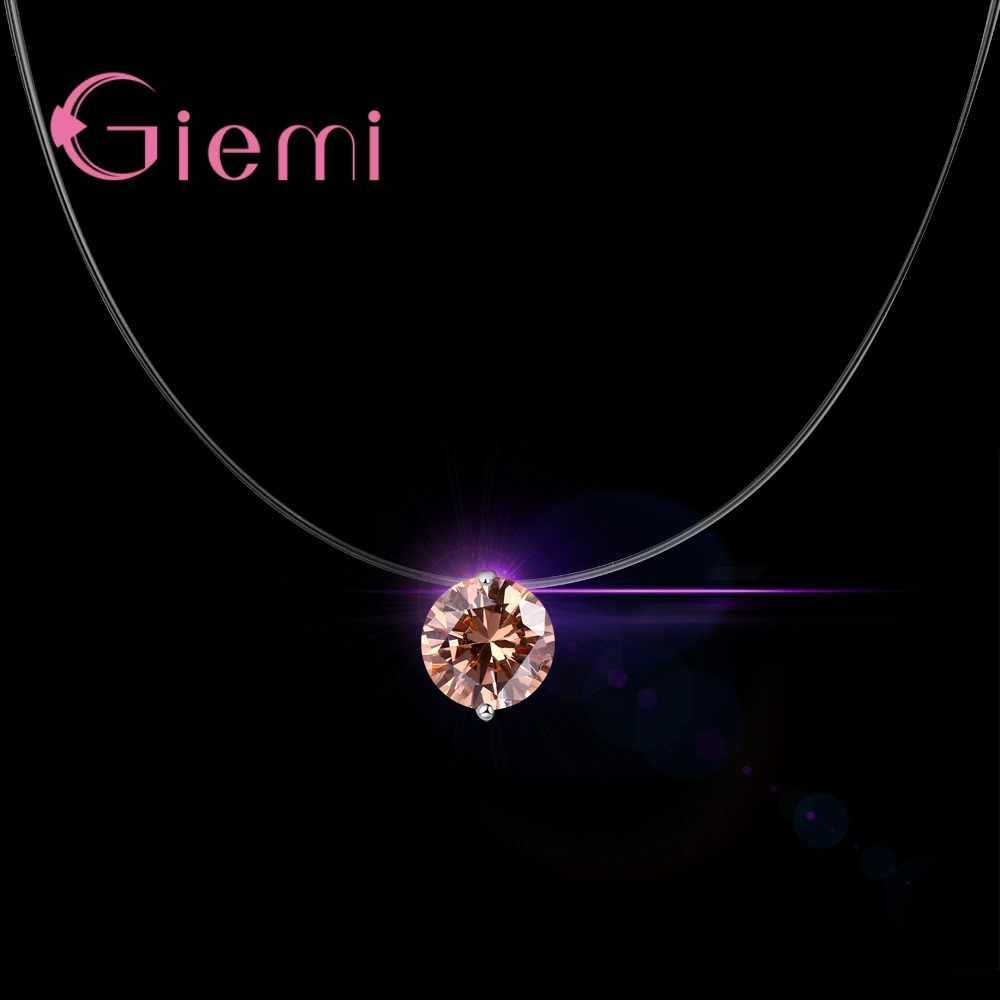 925 srebro sześciennych okrągłe różne kolory naszyjnik oryginalna marka urok błyszczące kobiety urodziny prezent gorąca sprzedaż