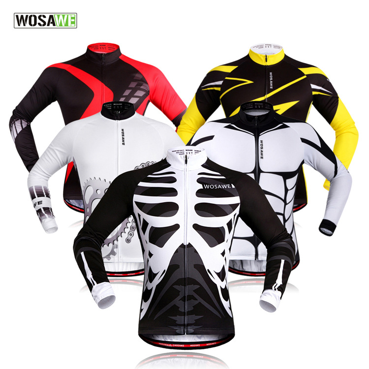 WOSAWE Mens Long Sleeve Riding Wear Bike Cycling Jersey Shirt Outfits Tops Uniforms Bicycle Garments Maillot Roupa MTB Clothing