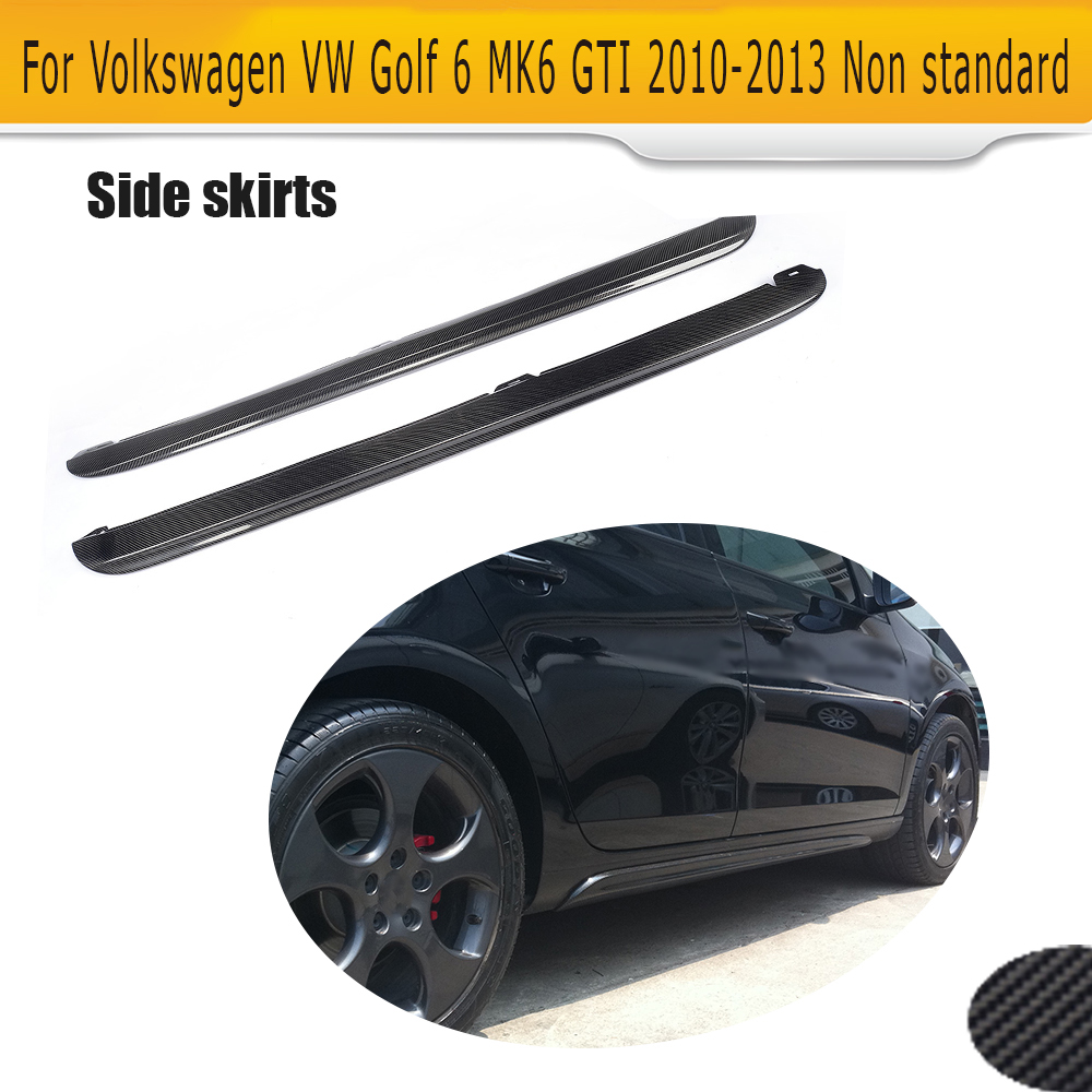 Carbon Fiber Car Side Skirts Aprons Body kits for Volkswagen VW Golf 6 MK6 VI Standard and GTI 10-13 Black PP