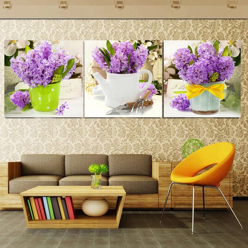 3 panel lienzo flor p rpura pintura cuadros para sala de for Cuadros pequenos para sala