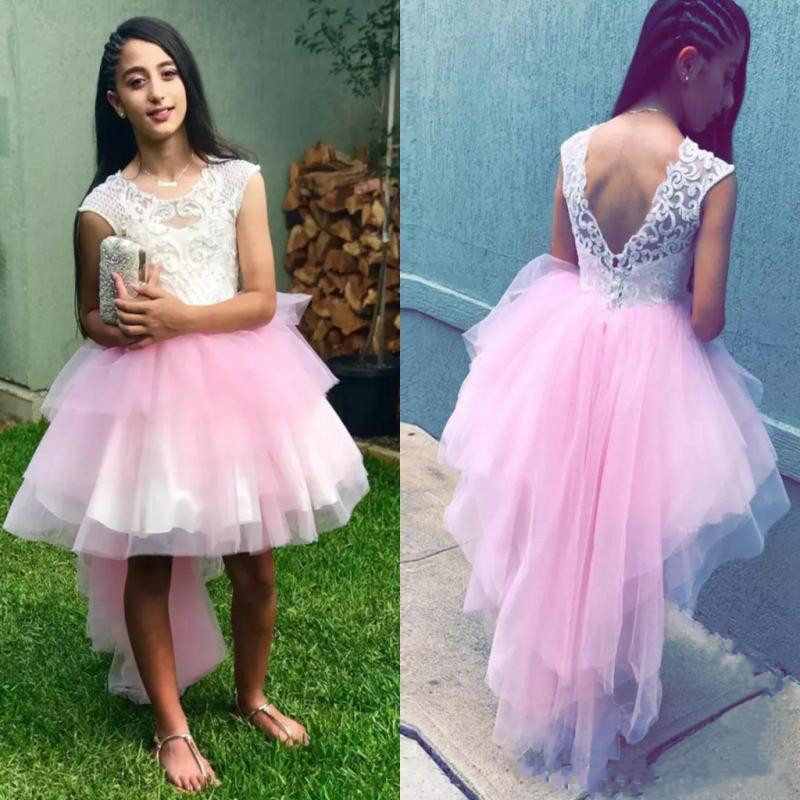 Cheap High Low Tulle   Flower     Girl     Dress   with Lace Appliques Buttons V-Back Designed For Special Occasion   Girls   Pageant Gowns