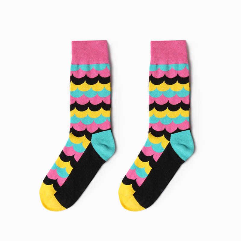 1 쌍 패션 다채로운 양말 남자 여자 히트 색상 아가일 줄무늬 큰 점 자카드 채워진 된 눈 combed 코 튼 커플 양말