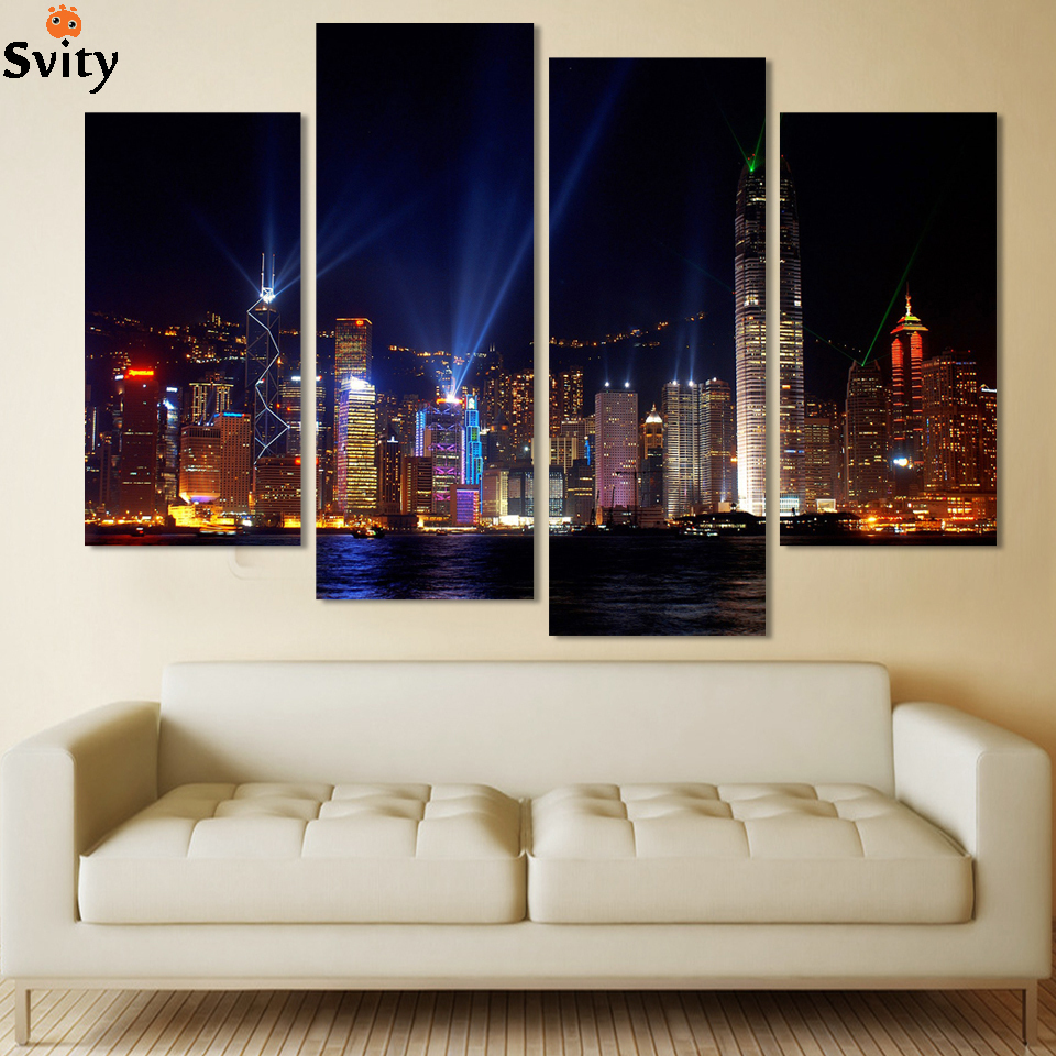 Framed 2016 high quality wall painting 4 piece city lights for Quality home decor