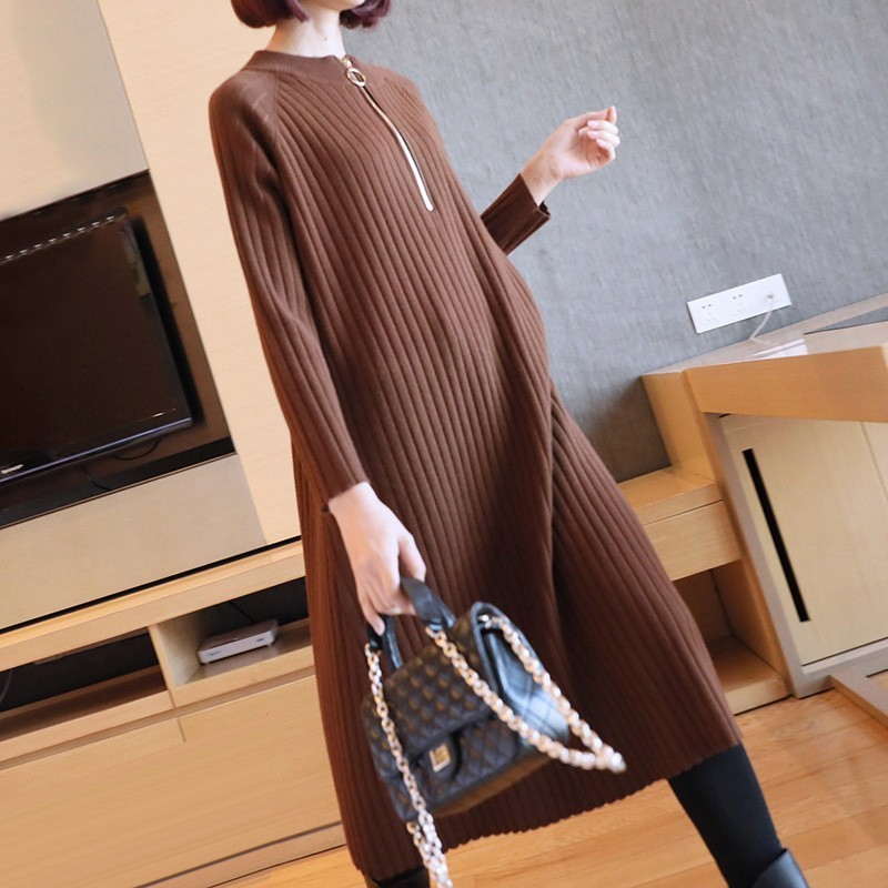 LANMREM 2019 New Fashion Round Collar Zipper Knitting Dress Spring Women s Long Sleeve Loose Casual