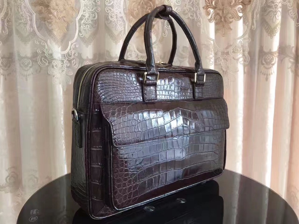 Briefcase-Bag Crocodile Laptop-Bag-Zipper Brown Business Men Belly-Skin Front-Flap 100-%