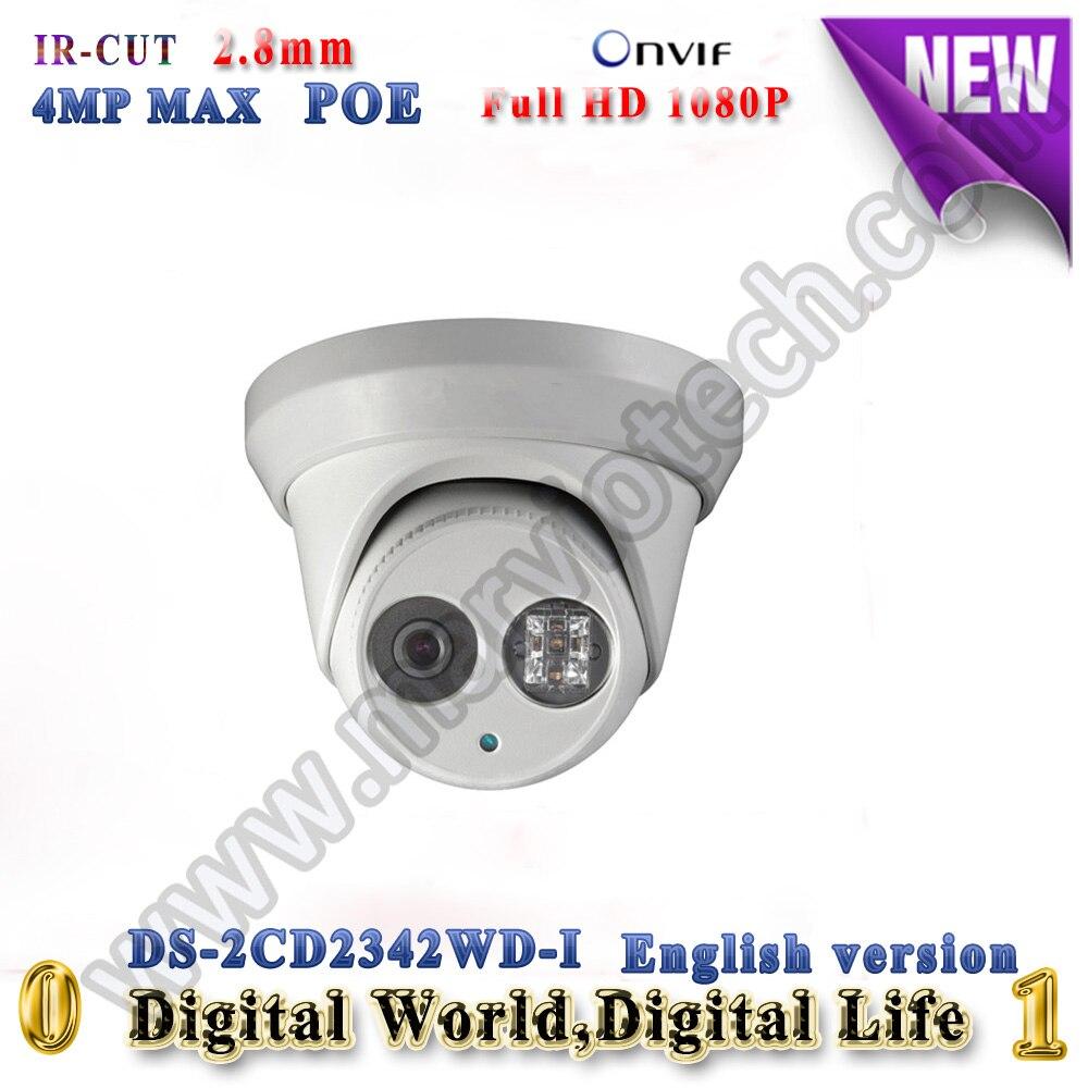 DS-2CD2342WD-I English Version IP Camera 4.0 megapixel IR 30m Dome cctv Camera POE onvif H.264 Outdoor security camera