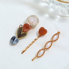 Korea Vintage Acrylic Resin Hairpins Imitation Pearl Metal Gold Hair Clips Heart Crystal Hairgrip Accessories For Women