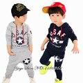 Детский мальчишеский демисезонный повседневный спортивный костюм 2 шт. рост 100-140 см. футболка с капюшоном+ штаны