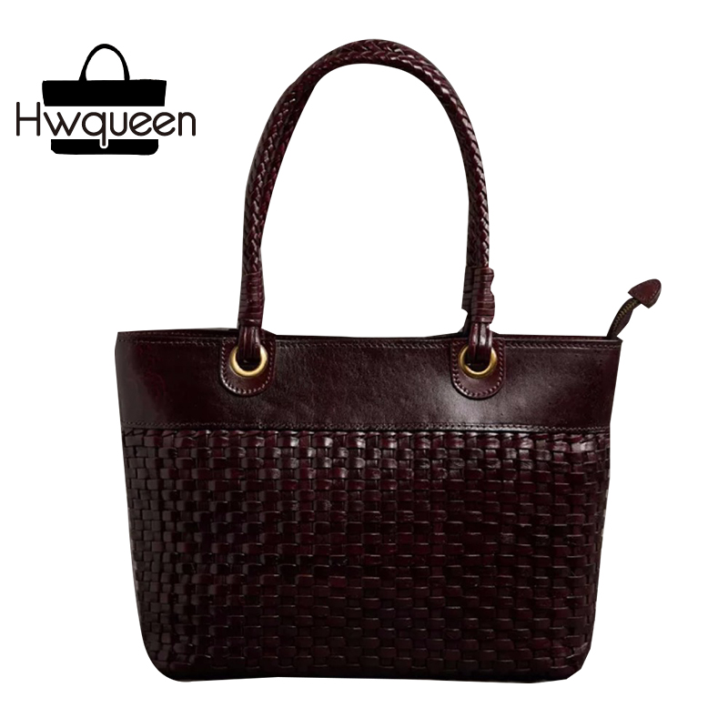 100% Handmade Knitted Designer Genuine Leather Top Handle Women's Woven Totes Handbag Female Ladies Single Shoulder Bag For Mom country style genuine leather women small knitting designer totes bag top handle basket handbag ladies woven colorful purse bag