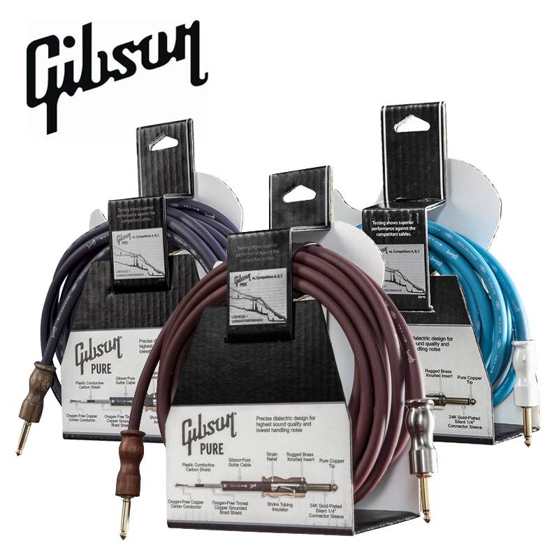Gibson Guitar Instrument Cable, 12ft 18ft 25ft, Guitar Cable, 1/4 TS Male - 1/4 TS Male ts 4 12