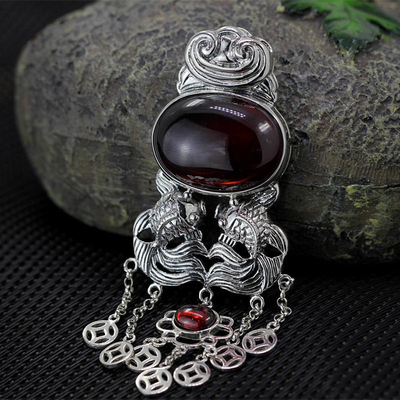 S925 silver jewelry wholesale fashion lady pomegranate red tassel beautiful pendant
