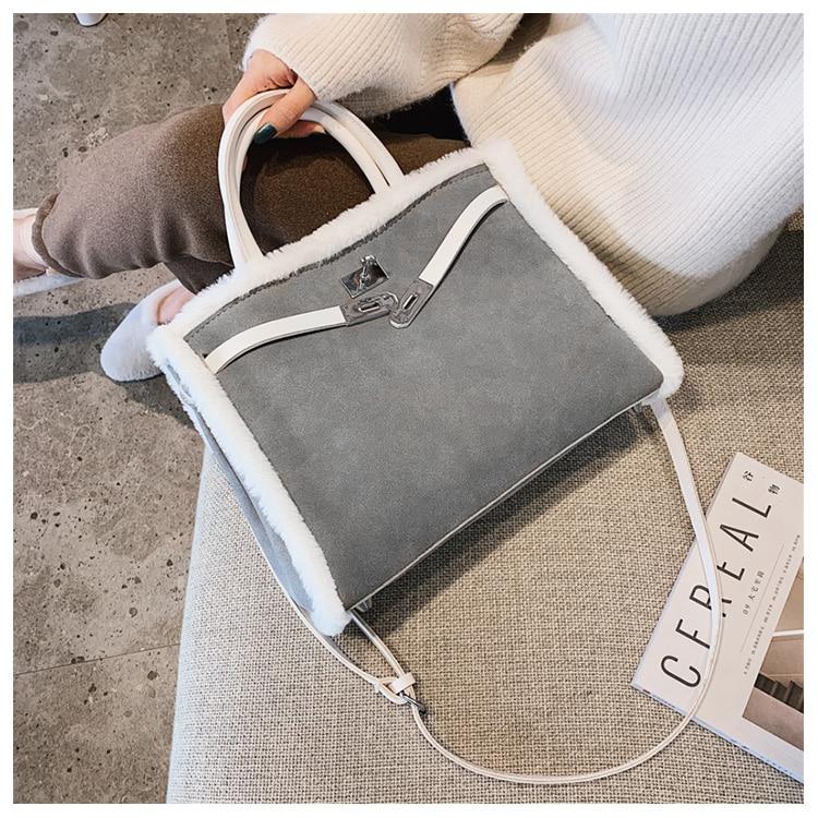 Korean handbag large capacity bucket hand bag designer big tote designer Fur women messengerc winter shopping wool no lock 86