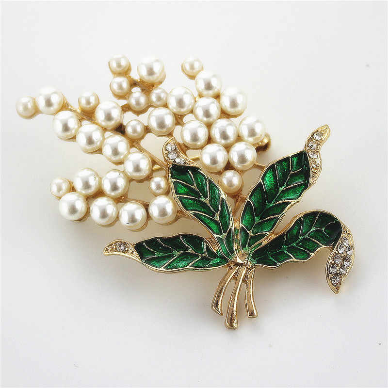 XQ Free shipping Fashion new pearl drop glaze green brooch set a corsage accessories