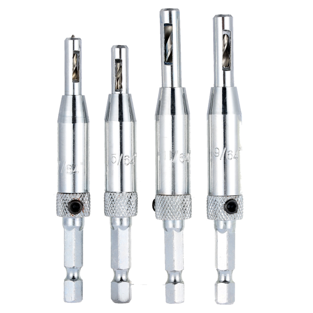 4pcs great Drill Bit Set Hole Puncher Hinge Tapper for Doors Self Centering furadeira herramientas drill perforator power tools jelbo cone step drill hole tools countersink 3pc drill bit set power tools step drill bit for metal power tools set hole cutter