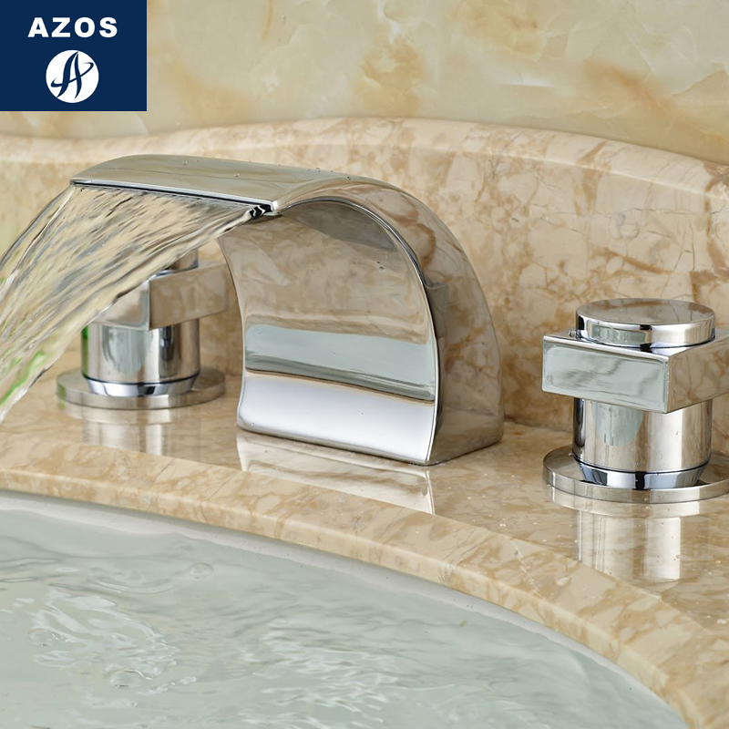 Azos Split FaucetWaterfall Waterfall Brass Chrome Cold and Hot Switch Balcony Bathroom Bathroom Cabinet Double Handle Three Hol