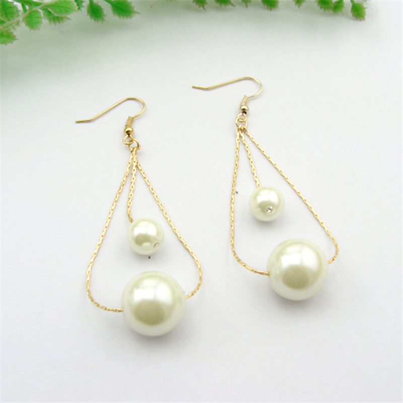 Women Special store concise gold alloy simulated pearl luxury pendant hanging earring brincos female earing