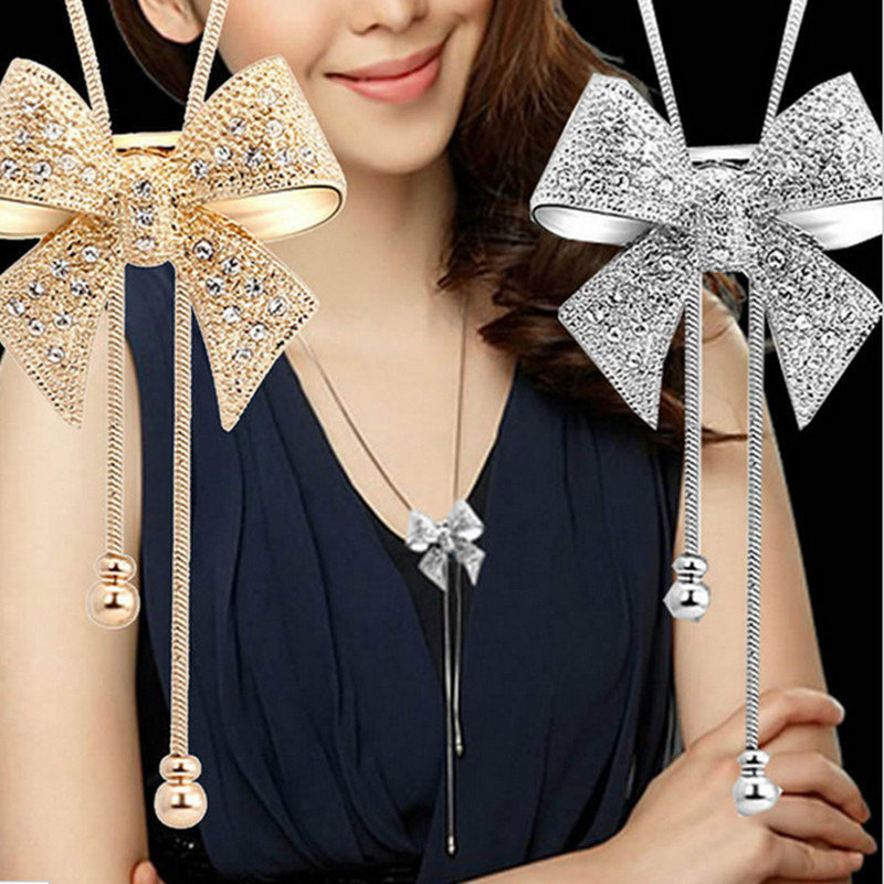 New Lady Chic Long Rhinestone Statement Shiny Bow Pendant Silver Plated Butterfly Chain Necklace Jewelry
