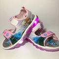 Девушки сандалии 2017 новый Мультфильм снежная королева Эльза Анна обувь Дышащая Летние дети пу Резиновые спортивные девушки принцесса обувь