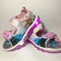 Sandálias meninas 2017 novos Dos Desenhos Animados da rainha da neve Elsa Anna sapatos das meninas do esporte crianças Respirável Verão pu Borracha sapatos princesa