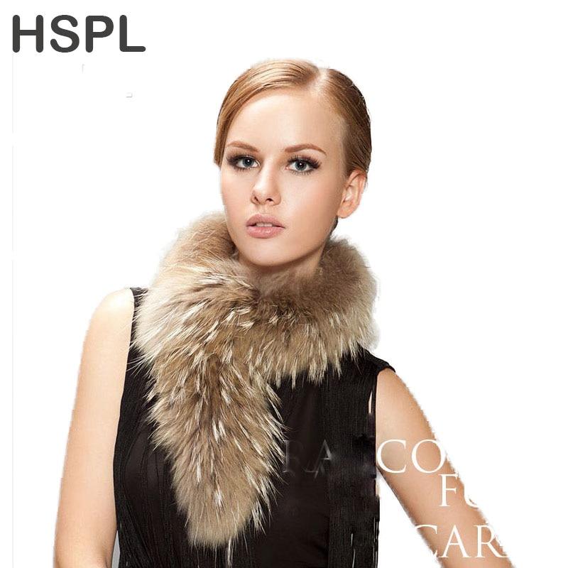 HSPL 2017 Mode Véritable fourrure de raton laveur écharpe Peut Être utilisé  comme capot garniture D hiver foulards pour hommes et femmes d2333be6953