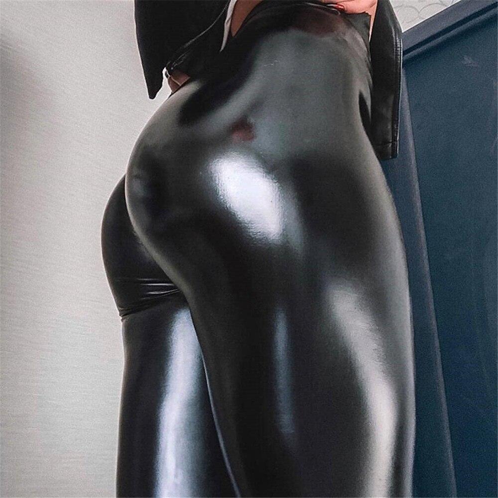 EOEODOIT   Leggings   Women Sexy Empire High Shining Matt Leather Party Pants Wide Waist Slim Big Stretch Lady Trousers Push Up Hip