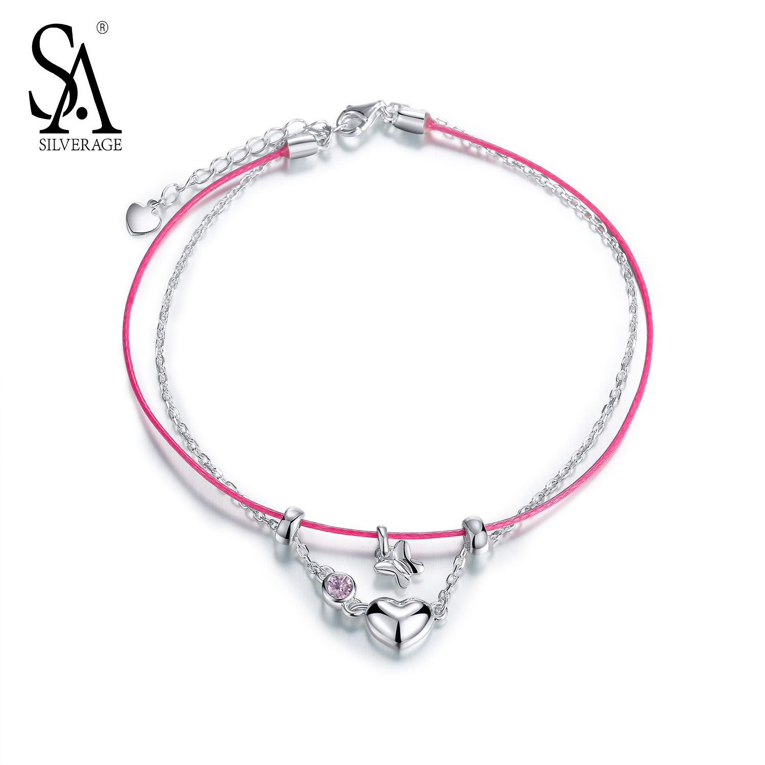 SA SILVERAGE Genuine 925 Sterling Silver Fine Jewelry Classic Double deck Red Rope Chains Hearts Anklets for Women