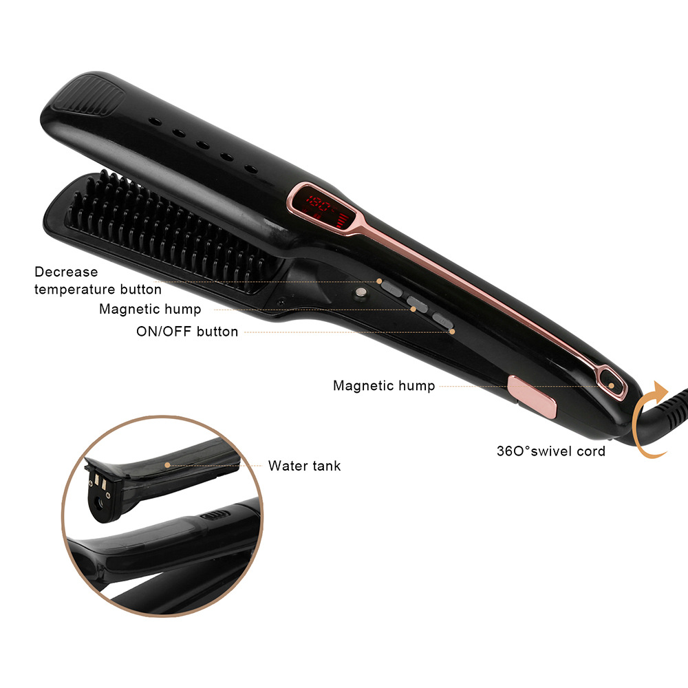 Professional Steam Hair Brush Steampod Fast Hair Straightener Electric Ionic Comb Spray Vapor Infrared Flat Iron Styling Tools steam spray infrared hair flat iron professional electric hair straightener curler hot brush styling tool