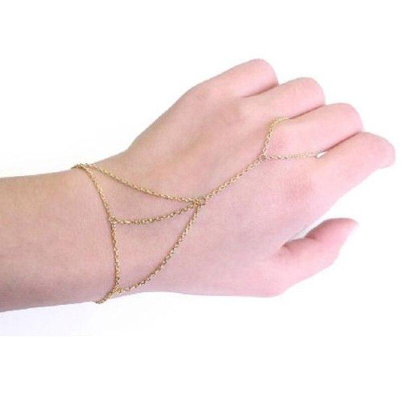 punk golden finger ring bracelet