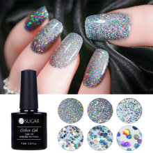 UR SUGAR 7.5ml Silver Holographic Nail Gel Polish Soak Off UV Laser Sequins Glitter Sparkle Varnish Nail Art Manicure Gel Lacque