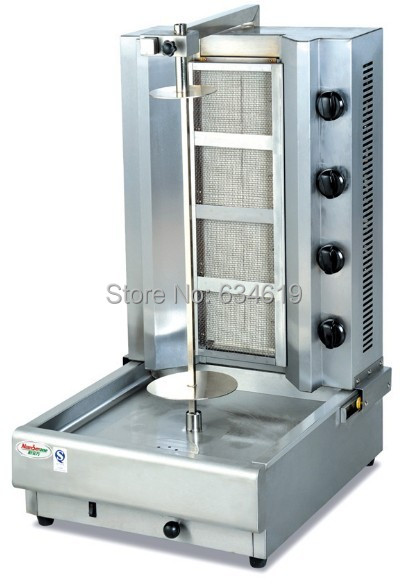 Super quality lpg gas doner shawarma machine, propane bbq kebab grill, stainless steel gas vertical rotisserie broiler machine