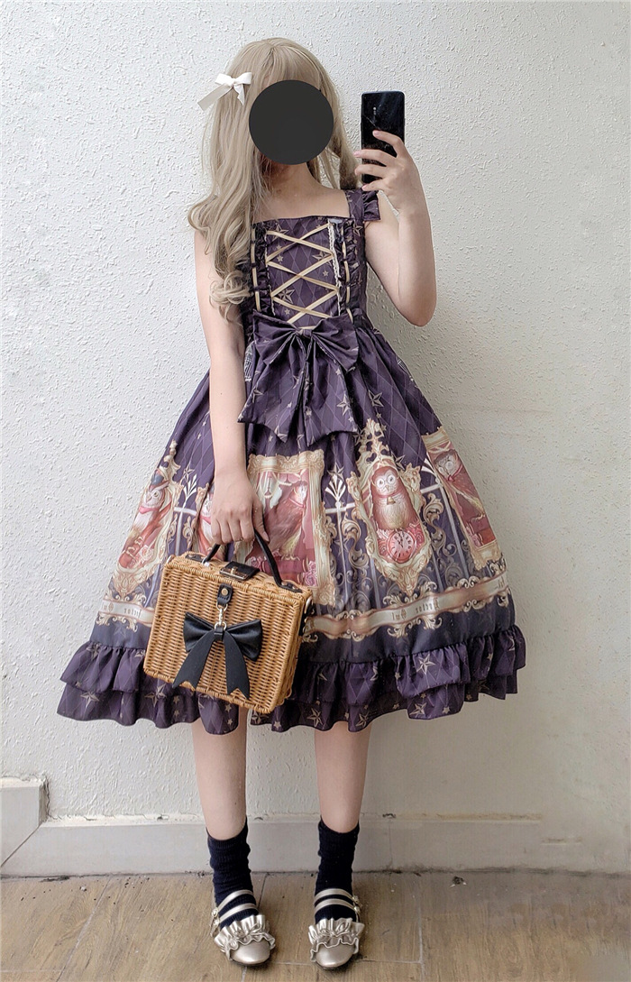 Original vintage impression douce lolita robe palais dentelle bowknot robe victorienne kawaii fille gothique lolita jsk cos lol - 6