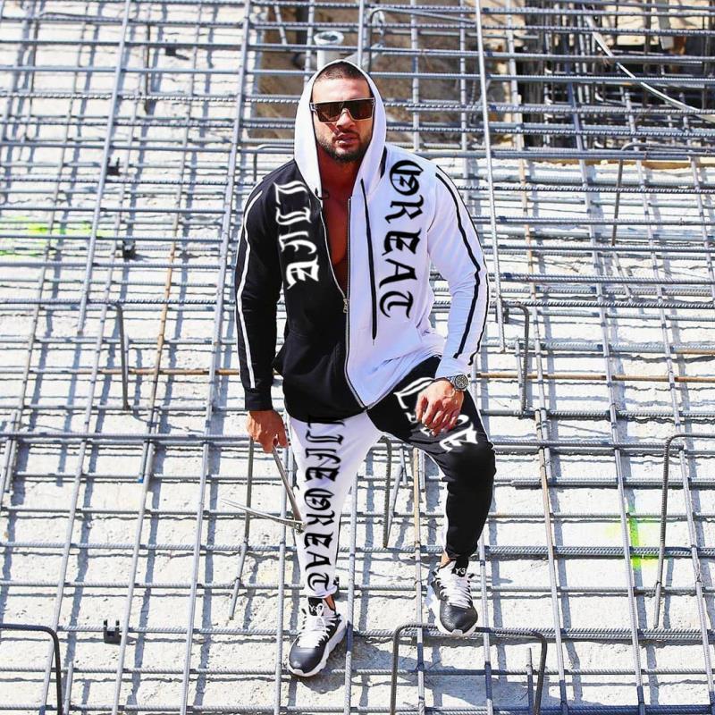 Men Tracksuit Euro-American Fashion Sports Leisure Jackets Trousers Cotton