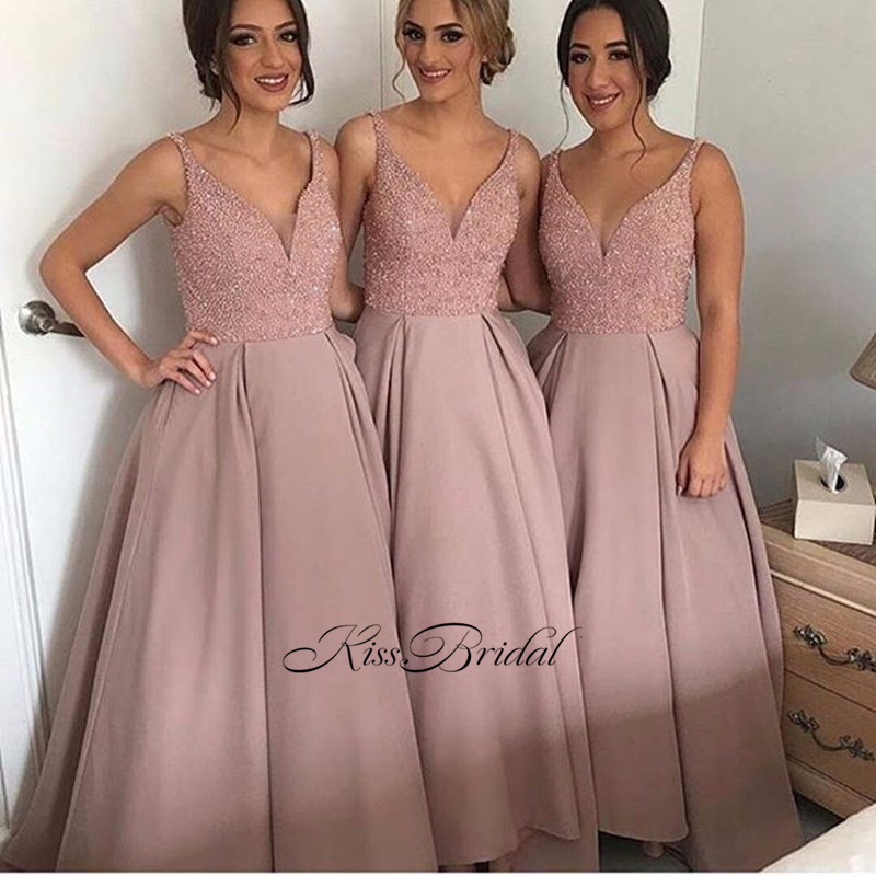 New Long   Bridesmaid     Dresses   2017 V-neck Sleeveless A-Line Beading Satin Floor Length Party   Dresses   vestido longo