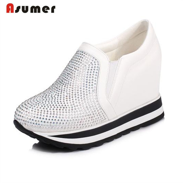Asumer Rhinestone pu women shoes big size 33-42 flat platform shoes round toe contracted popular loafers shoes