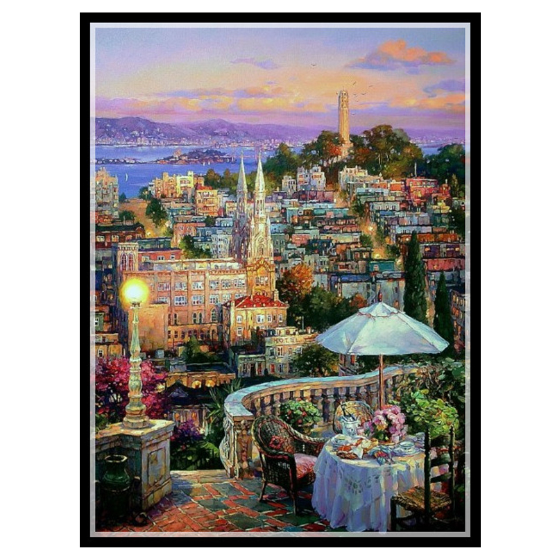 Needlework,DIY DMC 14CT unprinted Cross stitch Embroidery,Oil painting My Balcony Counted White canvas Cross-Stitching handmadeNeedlework,DIY DMC 14CT unprinted Cross stitch Embroidery,Oil painting My Balcony Counted White canvas Cross-Stitching handmade
