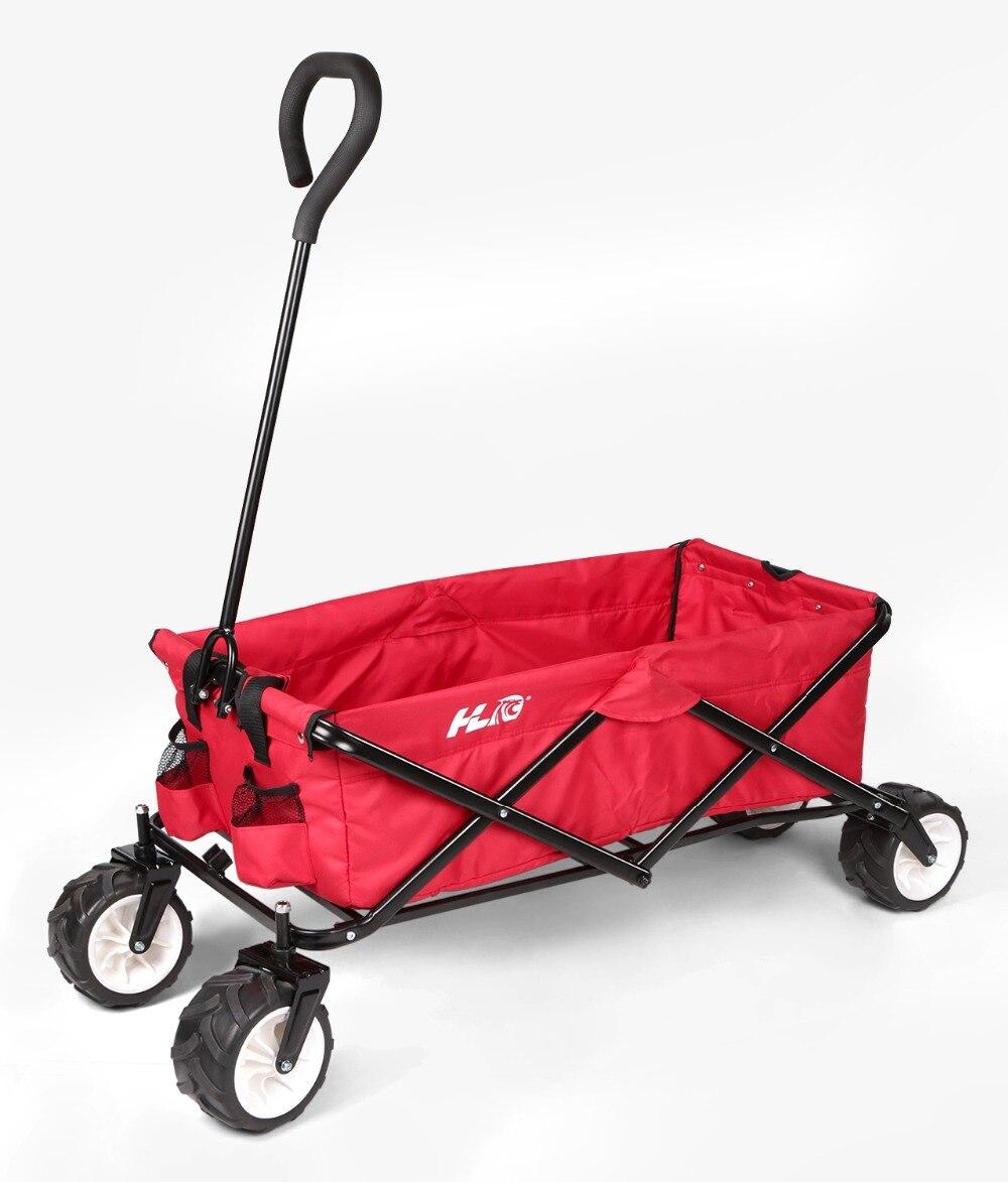 HLC Heavy Duty Folding Utility Wagon, Red Solid Frame durable 600 Denier Polyester Fabric Xmas Gift gastrorag hlc 600