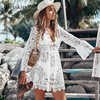 White Lace Beach Dress - Bikini Cover Up 1