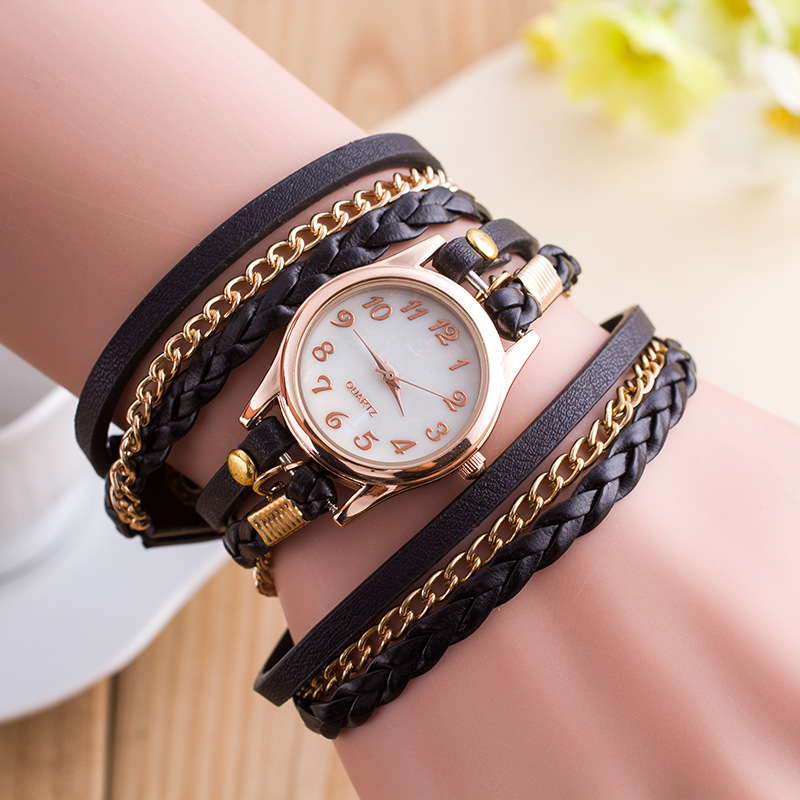 Fashion PU Leather Geneva Quartz Watch font b Women b font Stainless Steel Analog Wristwatches Bracelet